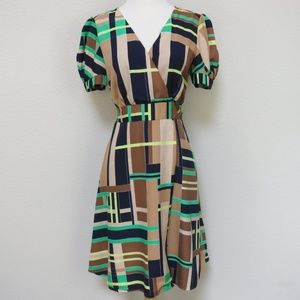 70s Style Dress Geometric Print Wrap Front 60s Med